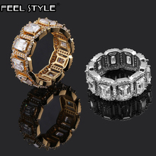 Popular Tready Bling Iced Out Copper Zircon Ring For Men Women Hip Hop Jewelry Gold Gold