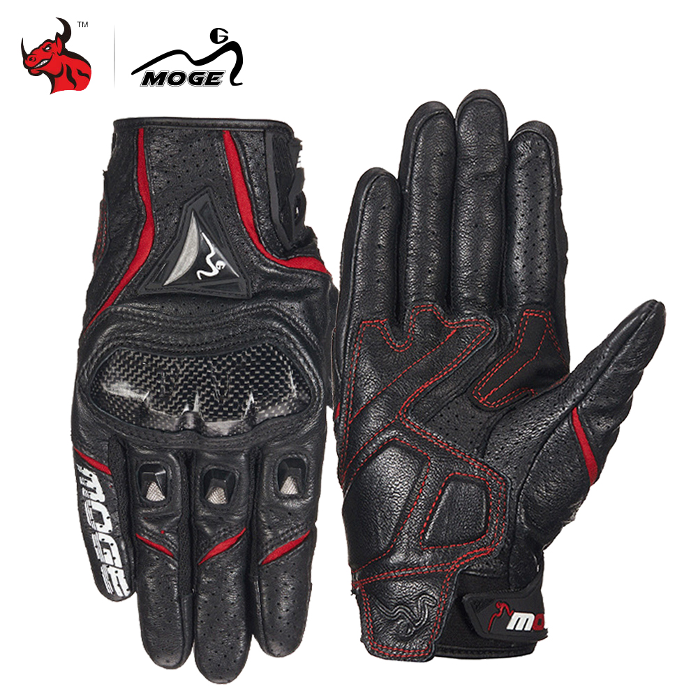 MOGE Motorcycle Gloves Breathable Leather Moto Gloves Carbon Fibre Motocross Gloves Touch Function Guantes Moto Riding Gloves