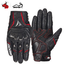MOGE Motorcycle Gloves Breathable Leather Moto Gloves Carbon Fibre Motocross Gloves Touch Function Guantes Moto Riding Gloves(China)