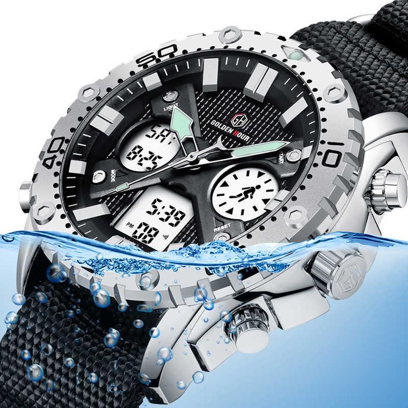 Reloj de pulsera Digital analógico de lona militar para hombre, de moda, para deportes al aire libre, reloj de pulsera con doble pantalla, reloj de plata para hombre