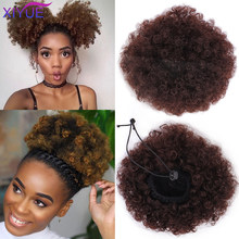 XIYUE haute bouffée Afro bouclés perruque queue de cheval cordon court Afro crépus queue de poney pince en cheveux synthétiques chignon Updo Extensions de cheveux(China)