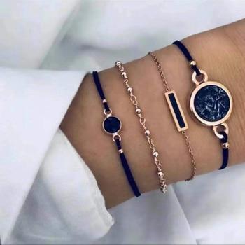 20 Styles Women Girls Mix Round alloy Crystal Marble Charm Bracelets Fashion Boho Heart Shell Letter Bracelets Sets Jewelry Gift 14