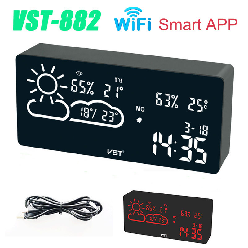 New WiFi Network Alarm Clock Weather Station Temperature Backlight Table Clock Living Room Office Bedroom Desk Clock Smart APP image