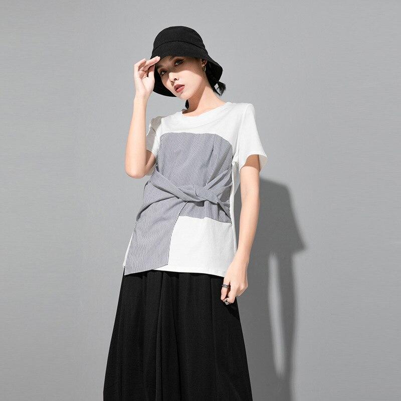 [EAM] Women Black Striped Knot Split Joint Irregular T-shirt New Round Neck Short Sleeve Fashion Tide Spring Summer 2020 1U627 2