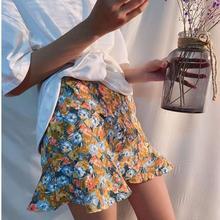 цена на New Arrived Mini Print Ruffles Empire Above Knee Skirts Women's Sexy Plaid Printing Casual Party High Waist Hip Mini Skirt