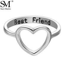 Anel oco em forma de coração, anel simples, melhor amigo esculpido romântico, amor, banda, cor prata, rosa, dourado, minimalismo, feminino, presente, joias
