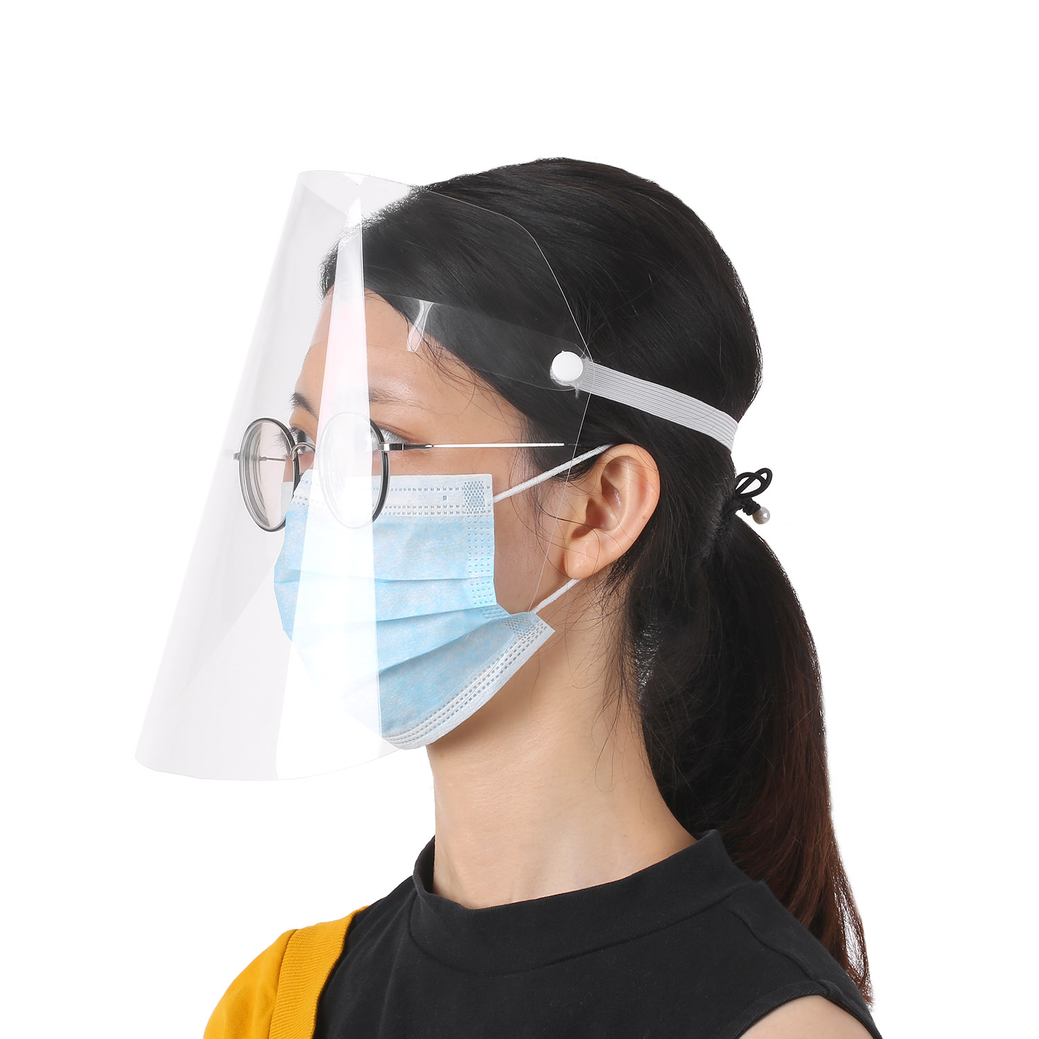 20pcs/lot Clear Face Cover with Adjustable Elastic Straps for Full Face Protection from Droplets/Virus