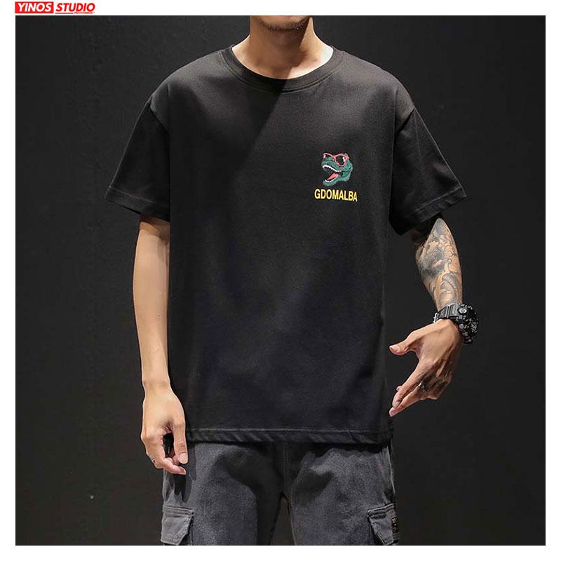 Dropshipping Spring Cartoon Print Harajuku T-shirt 2020 Solid Hip Hop Tee Short Sleeve Tops Oversizes 5XL