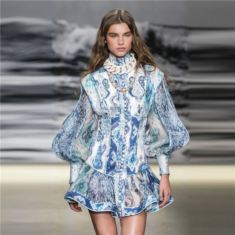 Baby Blue Printing Flower Long Sleeve Dress