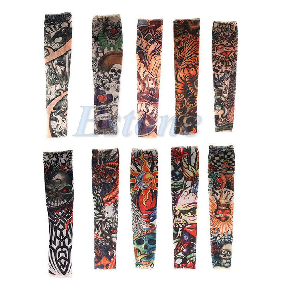 10pcs Fake Tattoo Slip On Sleeves Body Art Arm Covers Stockings Temporary Party LX9E
