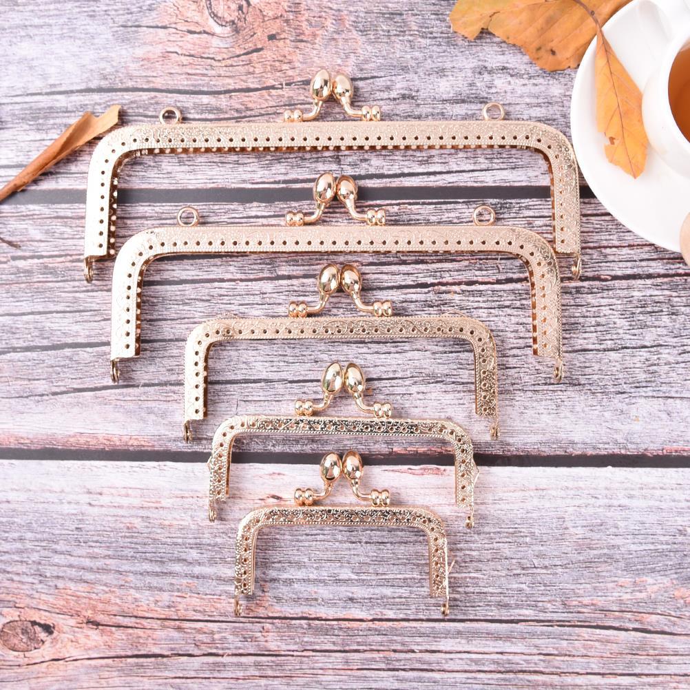1PCS 8.5/10.5/12.5/15/18/20cm Light Gold DIY Purse Handbag Handle Coins Bags Metal Kiss Clasp Lock Frame For DIY Purse Bag