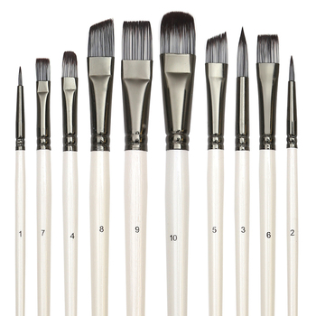 Paint Brushes Set for Art Acrylic Gouache Oil Watercolor Artist Canvas Synthetic Nylon Tips 10 Pack - discount item  31% OFF Art Supplies