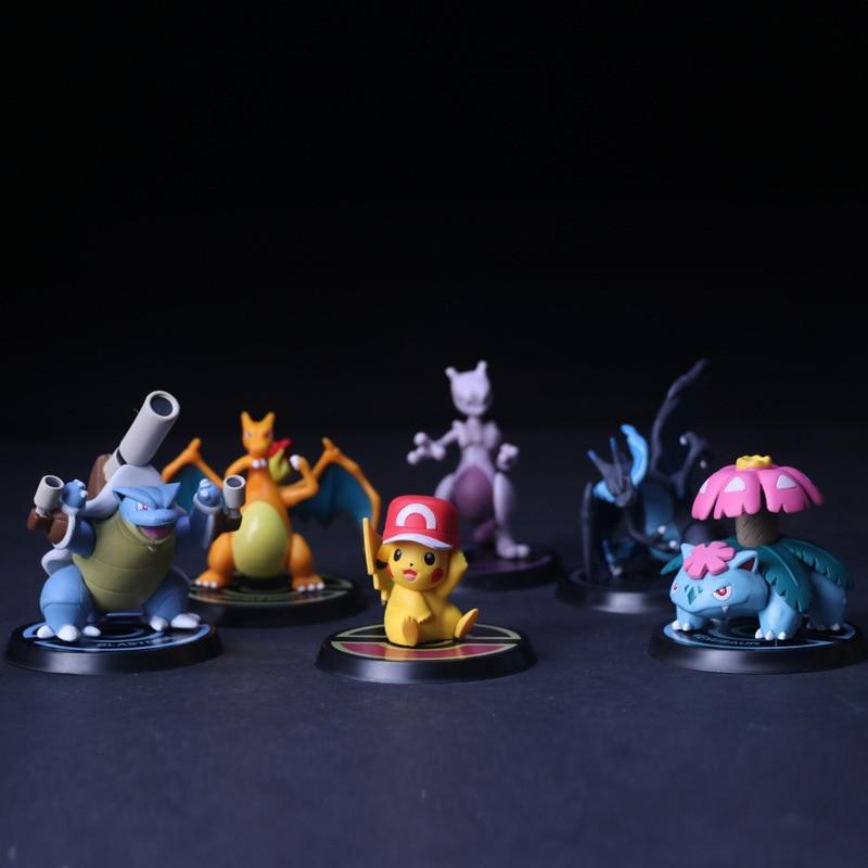 Cute 6pcs/set TAKARA TOMY Pokemon Action Figure Pikachu Mewtwo Charizard Venusaur Blastoise 144pcs/lot Pokemones Figures PVC Toy