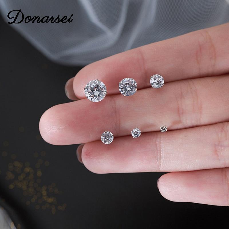 Donarsei 925 Sterling Silver 3-8mm Fashion Cubic Zirconia Stud Earrings For Women Korea Mini Shining Stud Earrings Gift