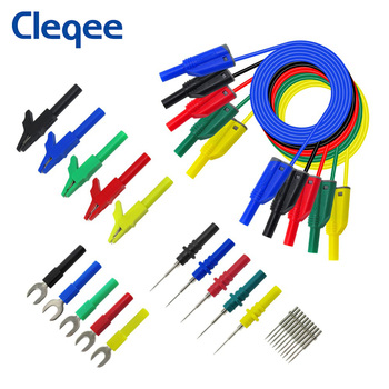 Cleqee P1050B 20PCS Stackable 4mm Banana Plug Silicone Test Lead Kit with probes Alligator Clip U-type Harpoon for Multimeter p1920 20pcs set back probe kit alligator clip to 4mm banana plug multimeter test lead 30v 10a for automotive tool