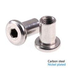 50-100PCS/lot Plywood nut M4/M5/M6/M8 carbon steel nickel plated Butt nut Flat head inverted hex furniture lock nut