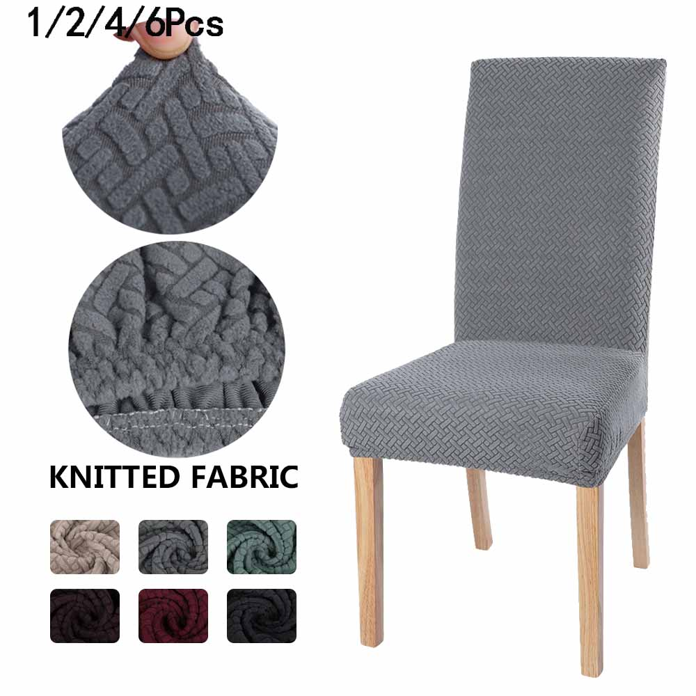1/2/4/6Pcs Solid Color Chair Cover Jarquard Spandex Stretch Elastic Slipcovers Knit Chair Covers For Dining Room Kitchen Wedding