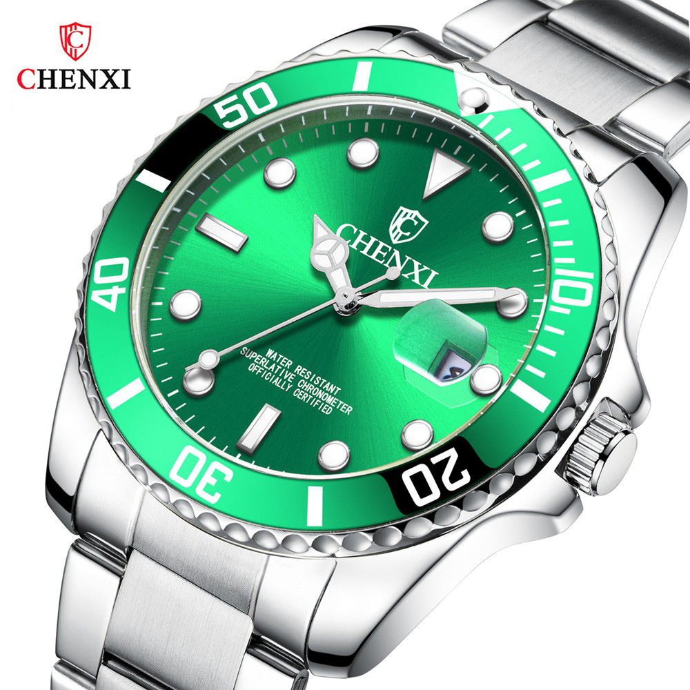 CHENXI Luxury Silver Men Watches Classic Green Stainless Steel Japan Movement Waterproof Casual Business Man's Sport Wristwatch|wristwatch mens|wristwatch waterproof|wristwatch stainless steel - title=