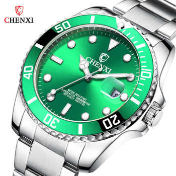 CHENXI Luxury Silver Men Watches Green Color Stainless Steel Japan Movement Waterproof Casual Business Man's Sport Wristwatch - DISCOUNT ITEM  49% OFF All Category