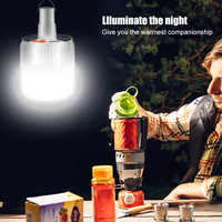 Outdoor Camping Light Solar Rechargeable LED Bulb Lamp Charge Portable Lights Emergency Night Market Lighting for Travel