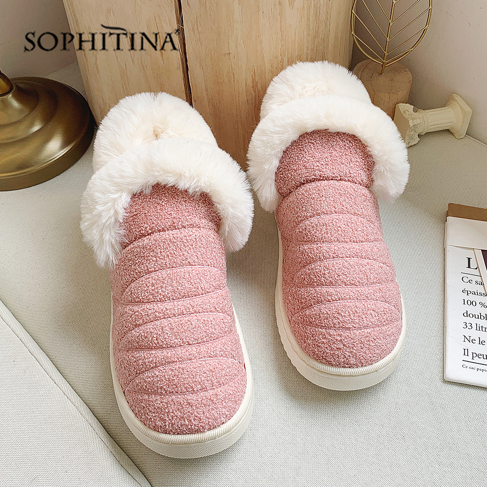 SOPHITINA Solid Comfortable Slipper Winter Round Toe Fashion Design New Shoes Very Warm Slipper MO371 3