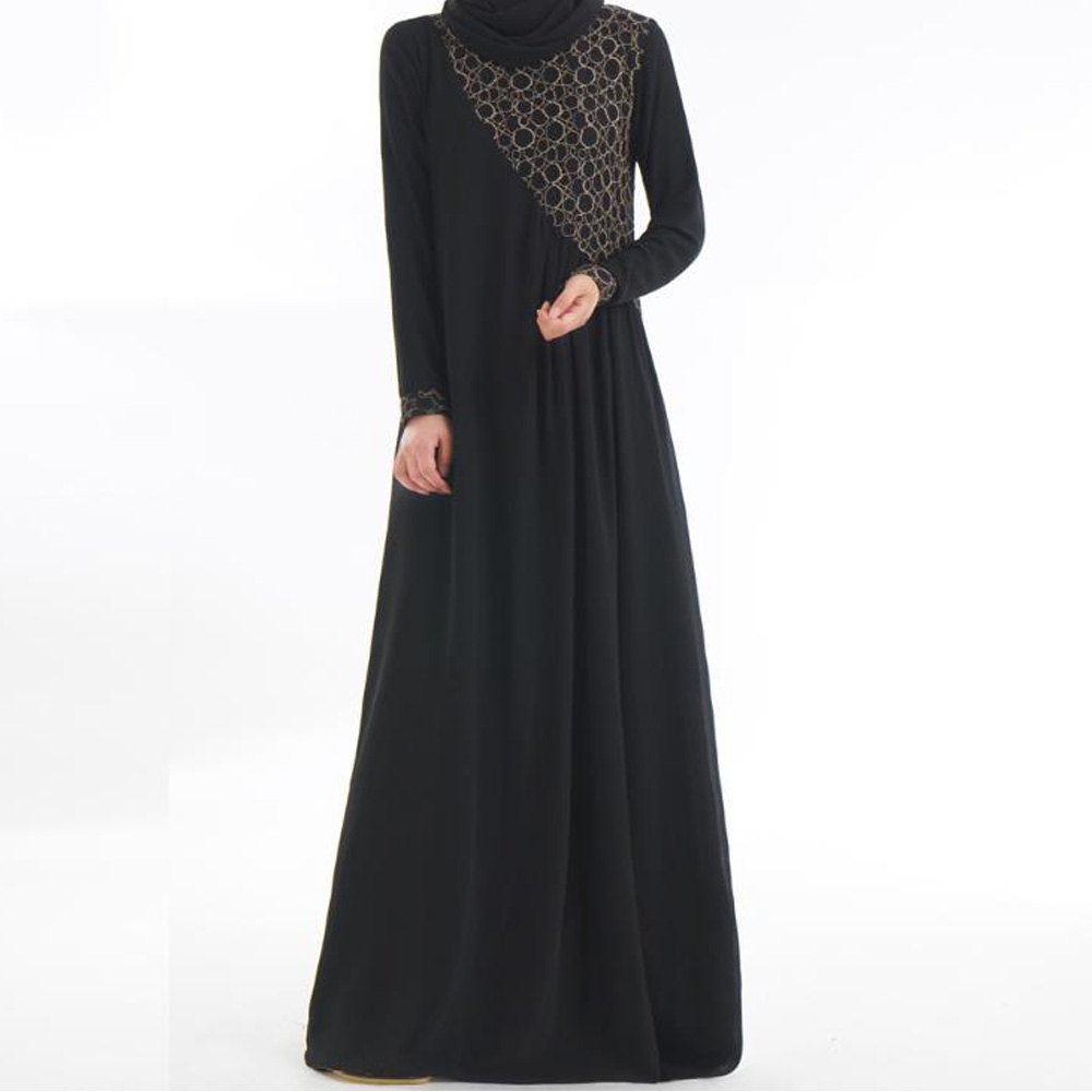 Plus Size Abaya Muslim Dress Islamic Arabic Abayas Long Sleeve Dress Patchwork Lace Pakistani Dubai Islamic Dresses for Women