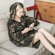 New Camo long sleeve harajuku hoodie korean style women sweatshirt casual plus size ladies crop hoodie hip hop women clothing contrast camo raw hem crop hoodie