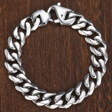 Fashion Matte Polished 316L Stainless Steel Bracelet For Men Boy Cut Curb Cuban Link Chain Male Hip Hop Jewelry Gift 15mm HBM109