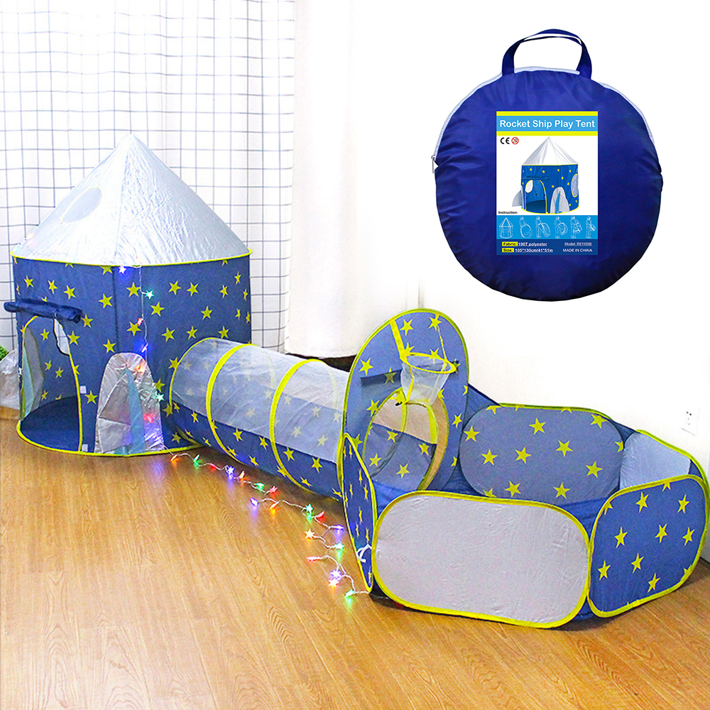 3 In 1 Rocket Children's Tent Foldable Kids Spaceship Tent Rocket Ship Rocket Ship Ball Box Soft Ball Pool Kids Play House