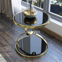 Nordic Luxury Gold Round Tea Table Double Layer Iron Frame Toughened Glass Living Room Sofa Side Bedside Balcony Leisure Table