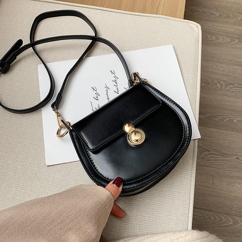 Contrast Color Saddle Bag 2020 New Shoulder Bag Ladies Messenger Bag Fashion Casual Mobile Phone Bag Saddle Bag Ladies Bag