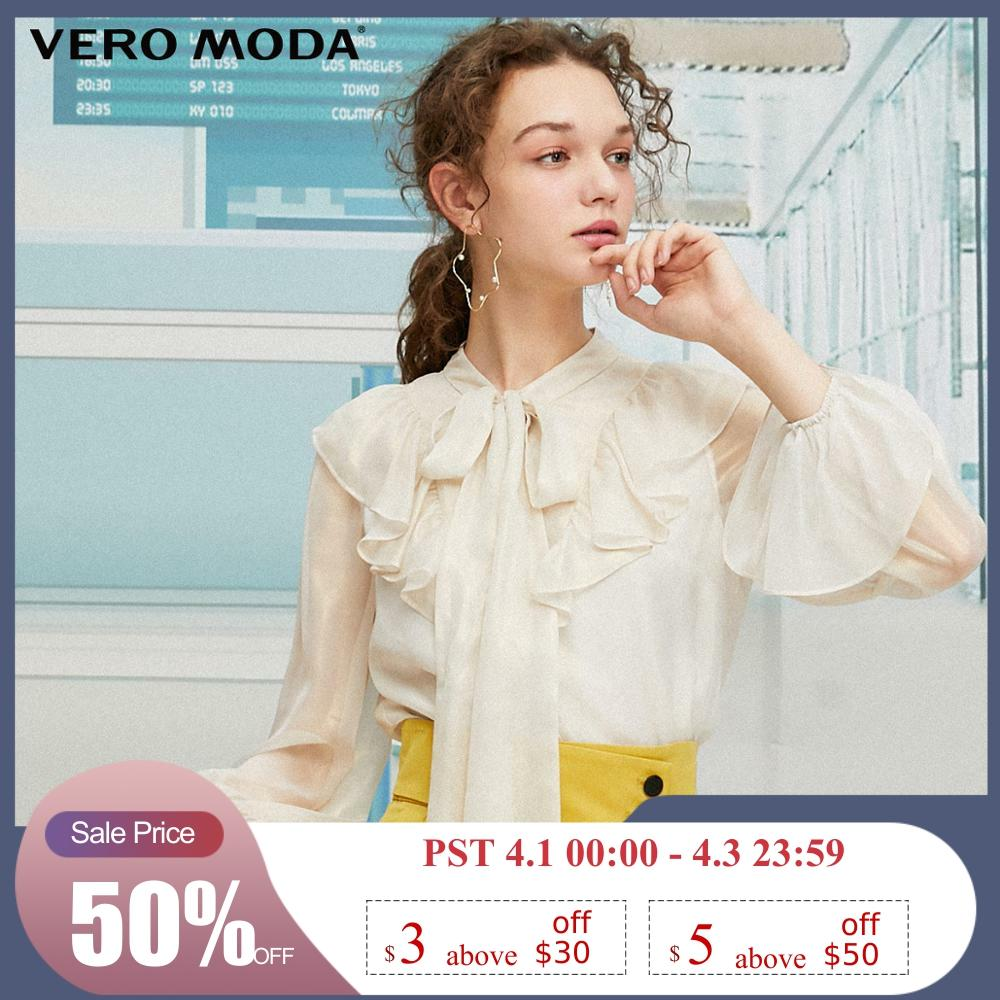 Vero Moda Women's Elegance Ruffled Trims Chiffon Blouse Shirt | 319305532