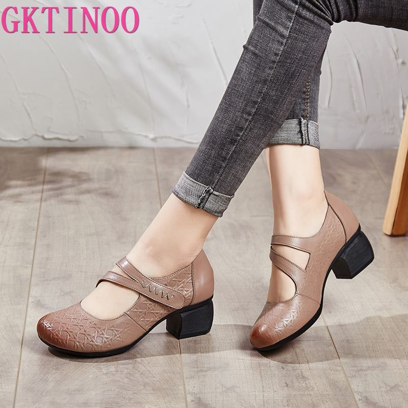GKTINOO 2020 Vintage Women Pumps Comfortable Genuine Leather High Heel Shoes Women Round Toe Casual Thick Heel Mother Shoes