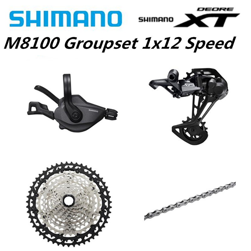 SHIMANO DEORE <font><b>XT</b></font> <font><b>M8100</b></font> 12s Groupset MTB Mountain Bike 1x12-Speed 51T SL+RD+CS+HG <font><b>M8100</b></font> Shifter Rear Derailleur Chain Cassette image