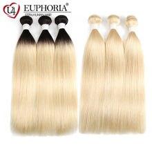 Ombre Blonde cheveux raides 3 paquets traiter Ombre platine Blonde 1B 613 brésilien Remy cheveux 1/3/4 Bundle armure Extension euphorie