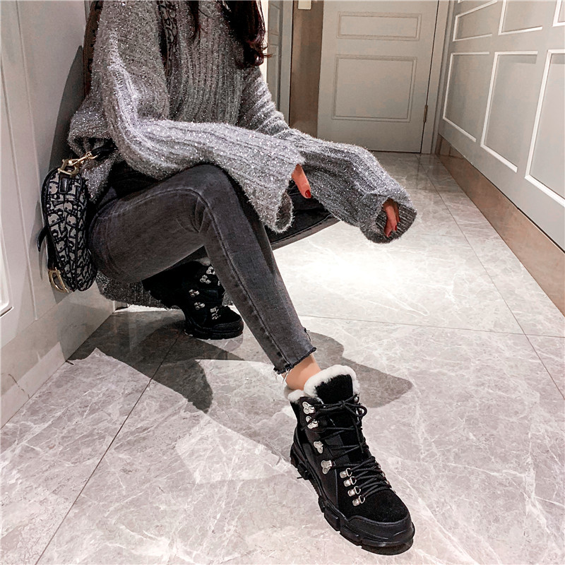 FEDONAS Cross Tied Women Quality Genuine Leather Ankle Boots Casual Office Shoes Woman Winter Vintage Warm Female Snow Boots 40