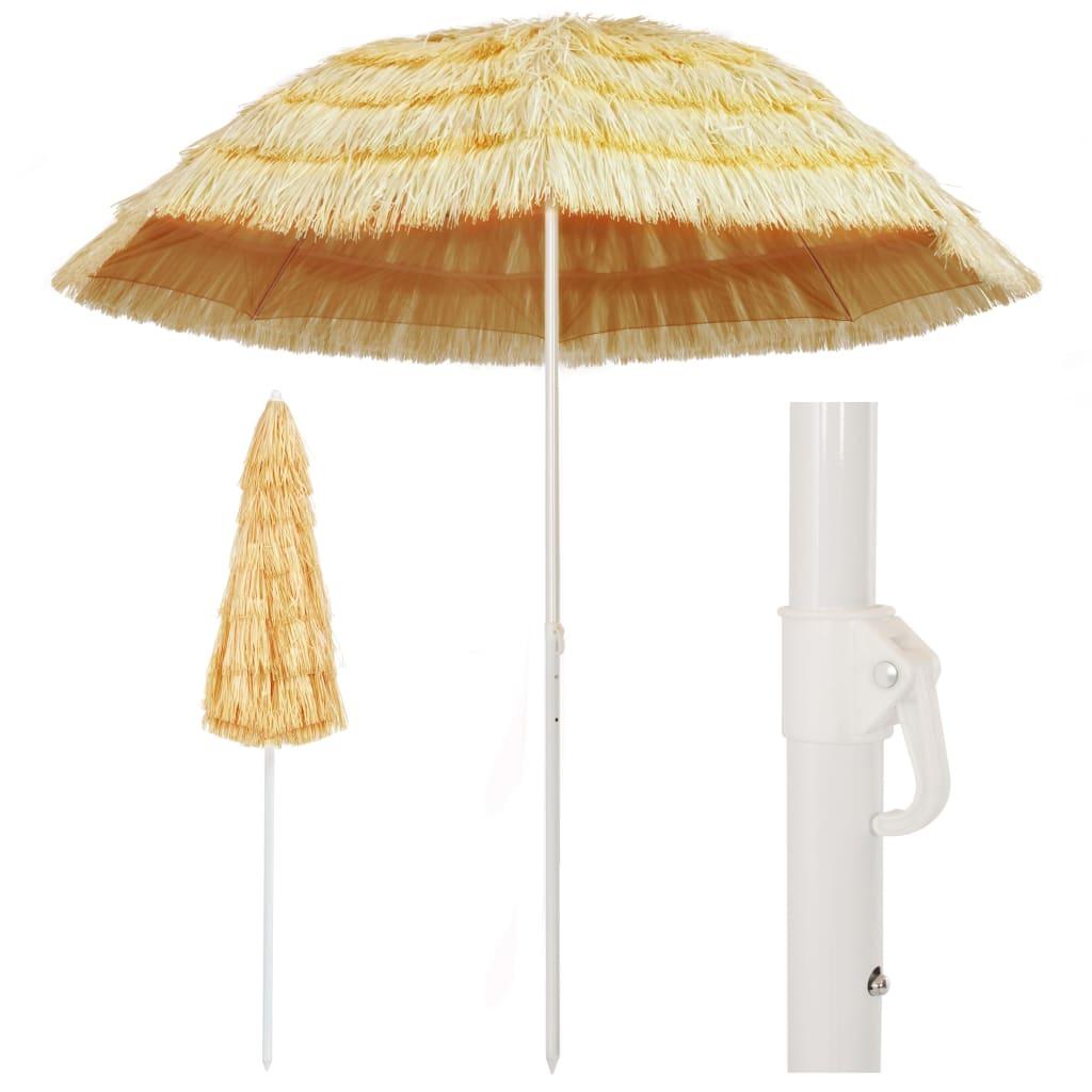 VidaXL Beach Umbrella Natural 240 Cm Hawaii Style