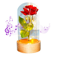 LED Beauty/Automatic Rotating and the Beast Red Rose Flower String Light Battery Powered Table Lamp Romantic Valentise day Gift