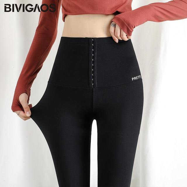 BIVIGAOS cintura alta cinturón adelgazante moldeador de trasero polainas mujeres Sharkskin elástico Shapewear Sexy negro Push Up Leggings