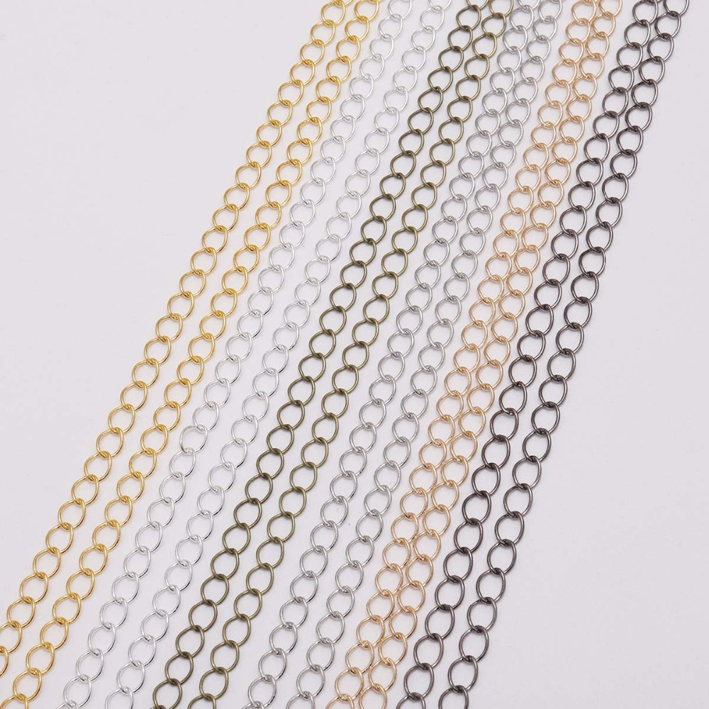 5m 10m/lot Silver Bronze Long Open Link Ring Extended Extension Necklace Chains Tail Extender For DIY Jewelry Making Accessories