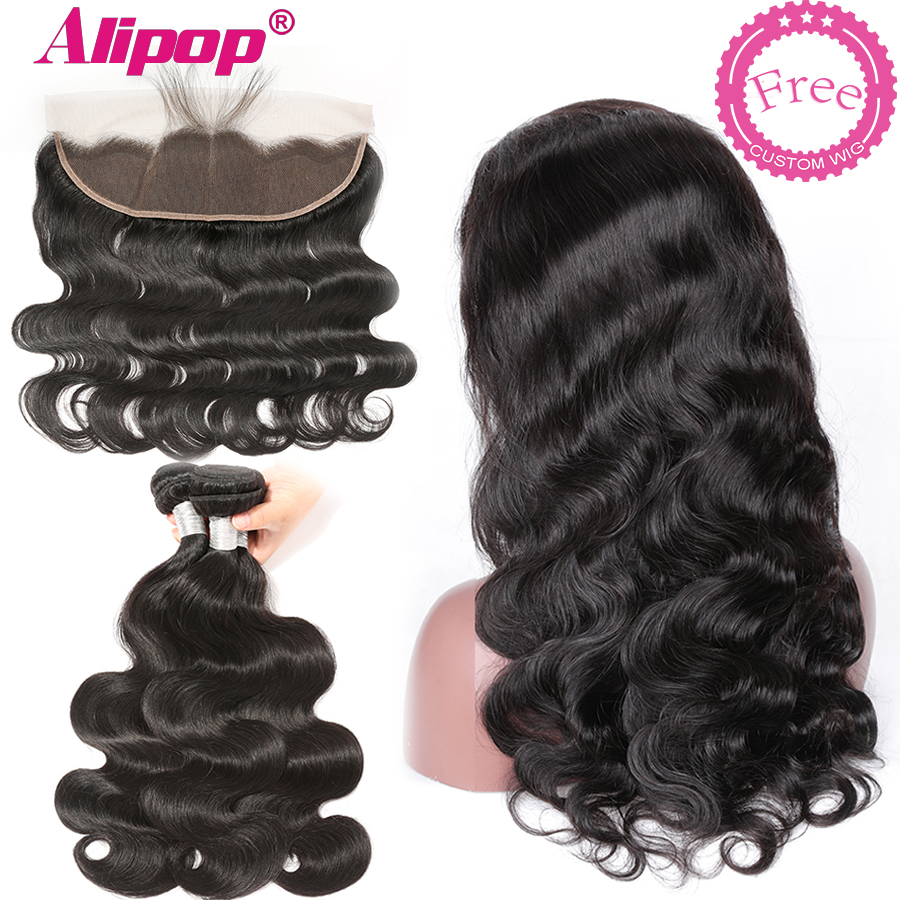 Alipop Free Customized Body Wave Lace Frontal Human Hair Wigs By Brazilian Remy Human Hair Bundles With Frontal 4