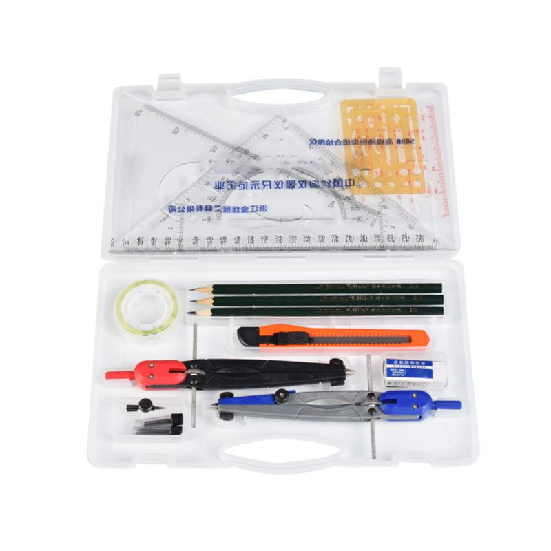 Drawing Compass Drafting Tool Set Ruler Pencils Eraser Student School Stationery Random Delivery