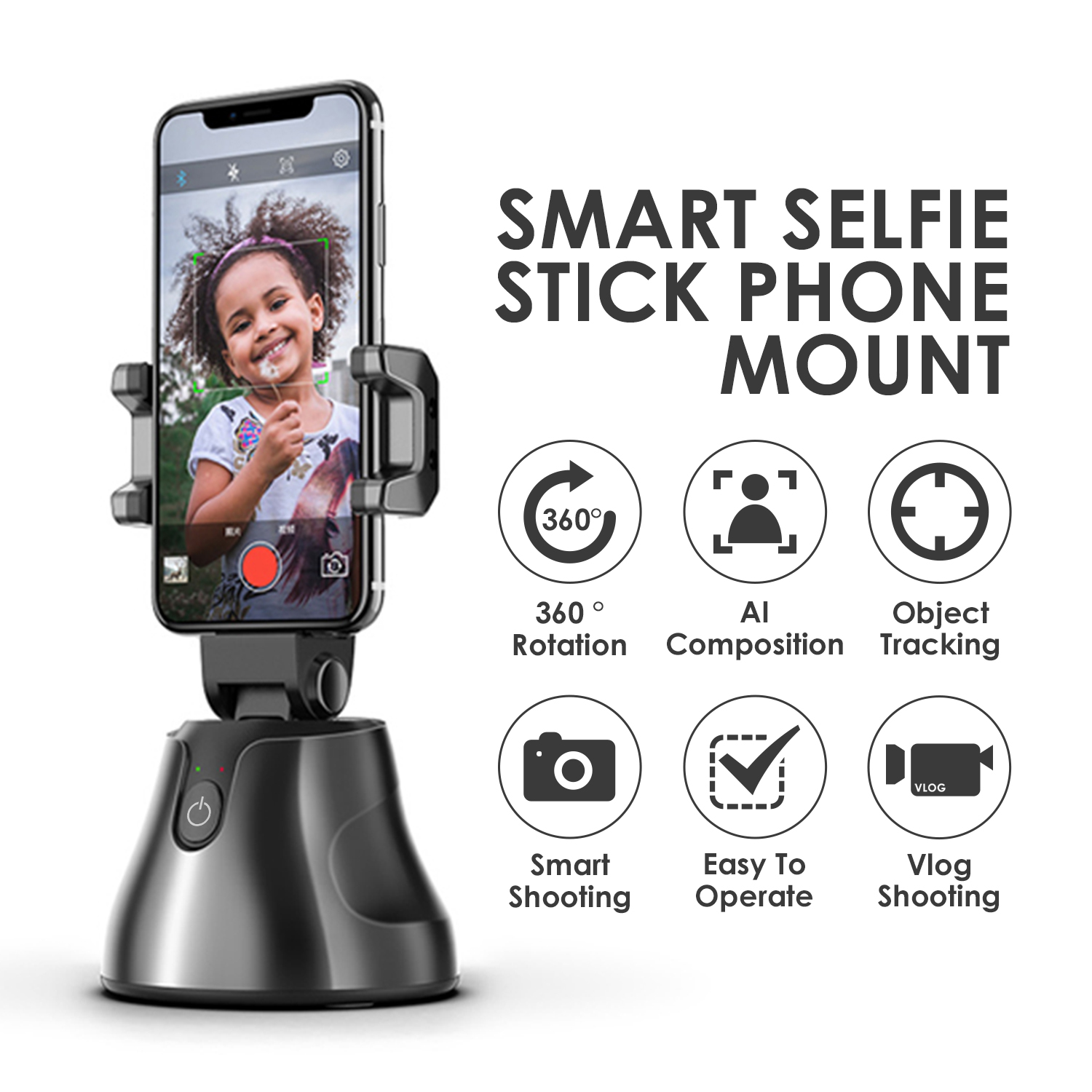 Portable All-in-one Auto Smart Shooting Selfie Stick 360 Rotation Auto Face/Object Tracking Vlog Camera Phone Holder Desk Mount