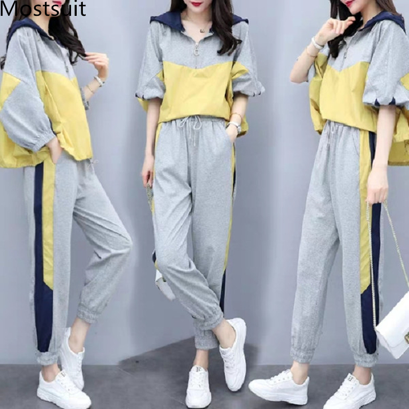 Grey Sport Casual Two Piece Sets Outfits Tracksuits Women Plus Size Hooded Tops And Pants Suits Spring Autumn Fashion Loose Sets 27