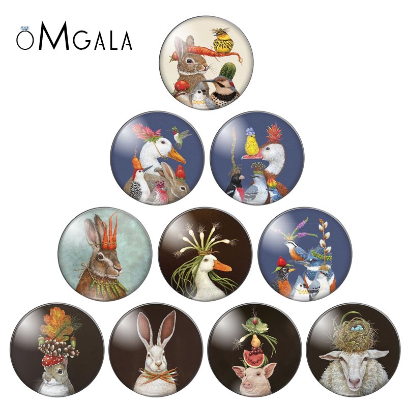 New Beauty Artistic Animals Mixed 10pcs 8mm/10mm/12mm/18mm/20mm/25mm Round Photo Glass Cabochon Demo Flat Back Making Findings