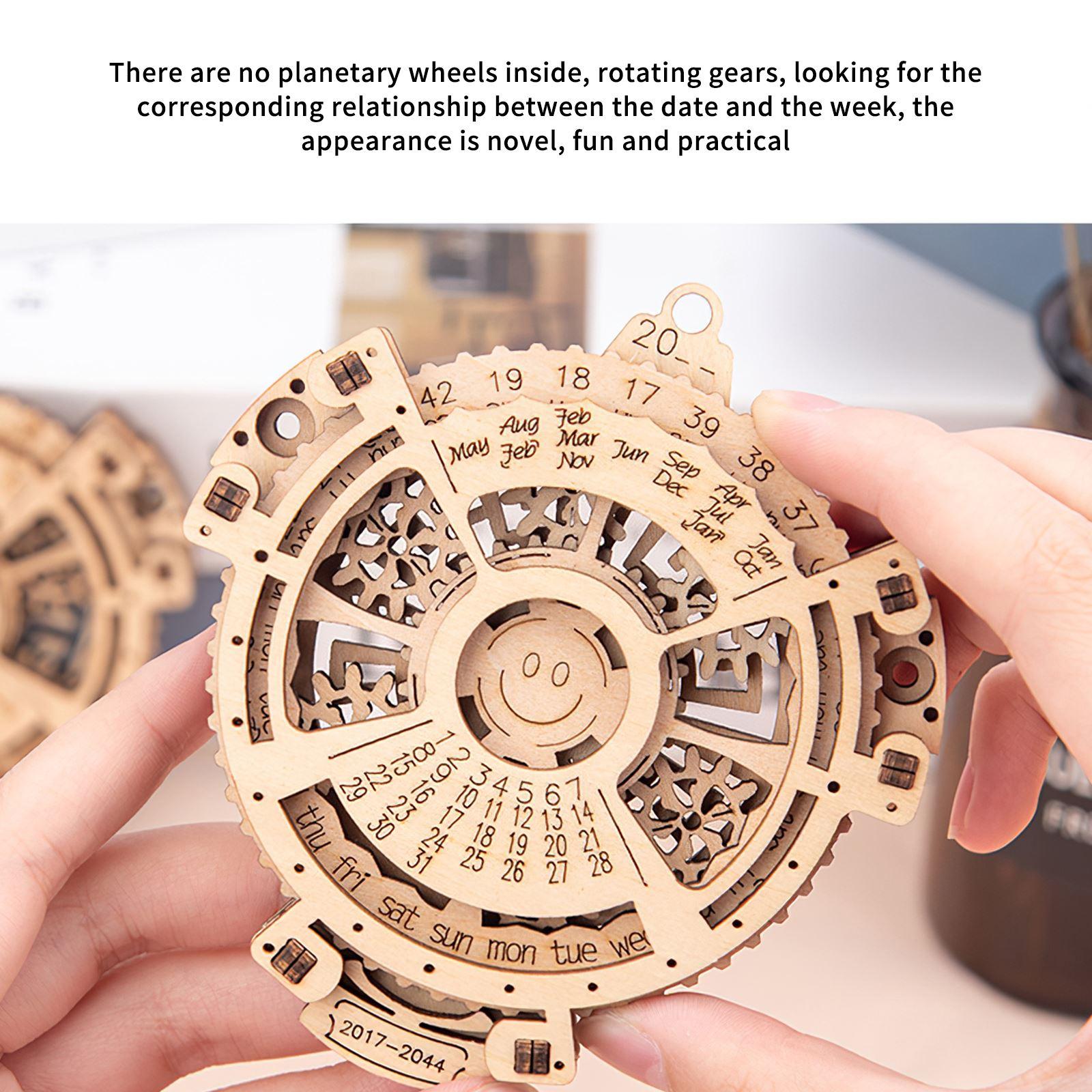 Educational Wood Machinery Perpetual Calendar Gear Turning Assembly Model Creativity Simple Desktop Ornaments Assembled Toys