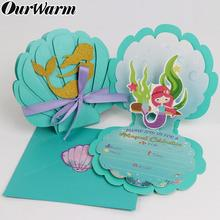 OurWarm 6Pcs Mermaid Party Invitations Cards Pool Party Supplies Kids Birthday Baby Shower Wedding Party Mermaid Favor Supplies