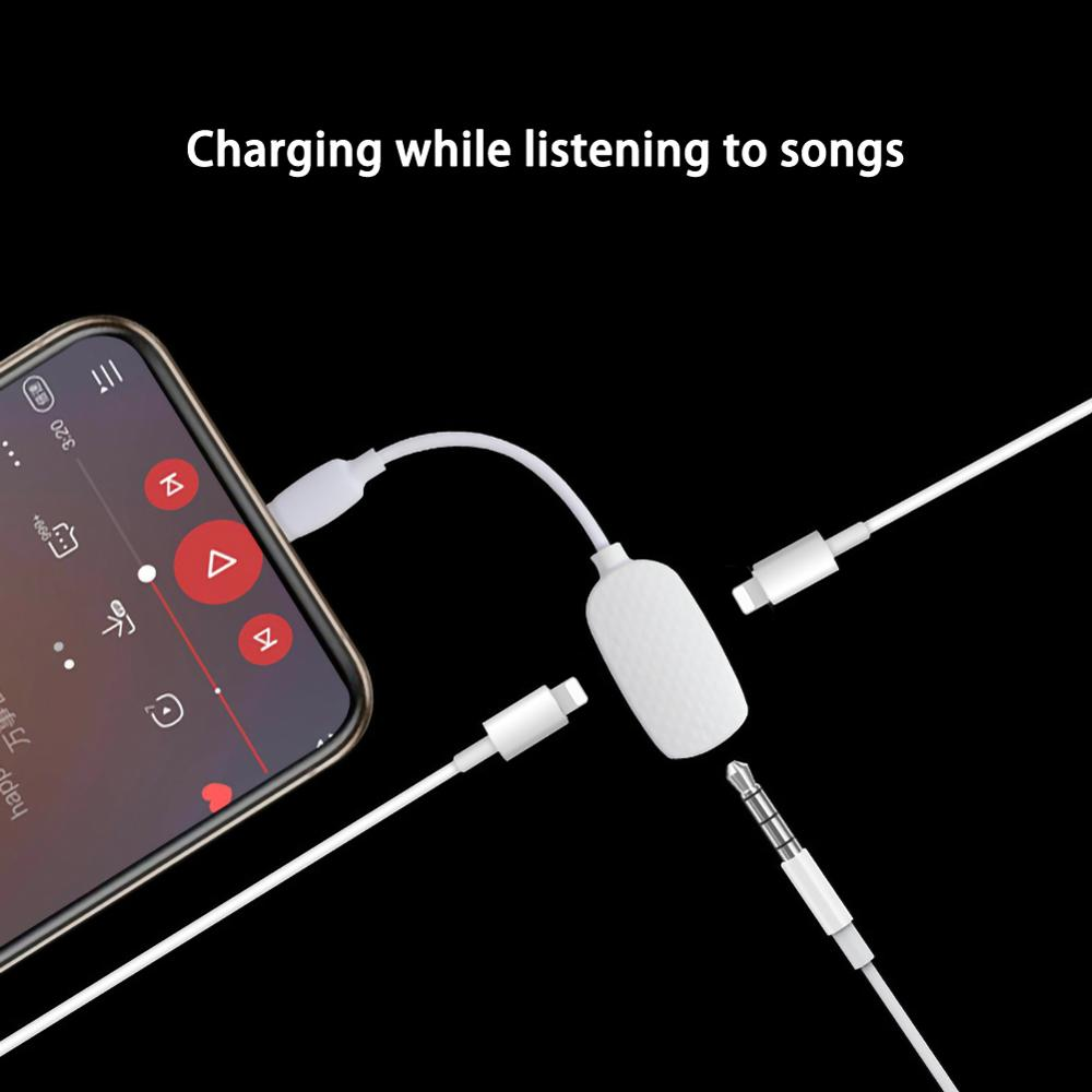 Headphone Jack Splitter For IphoneX XS Charging Cable 3.5mm Headphone Jack Adapter For Iphone 8 7 Plus Charger Cord