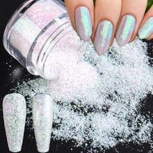 Paillettes holographiques pour ongles en forme de sirène, poudre scintillante, Pigment dégradé, poussière de trempage, décoration de manucure, CH1851