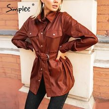 Simplee Vintage PU leather shirts women Causal Turn-down collar blouse shirt with belt Autumn winter chic pocket shirt tops 2020